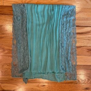 Green Turquoise scarf/shawl with lace trim